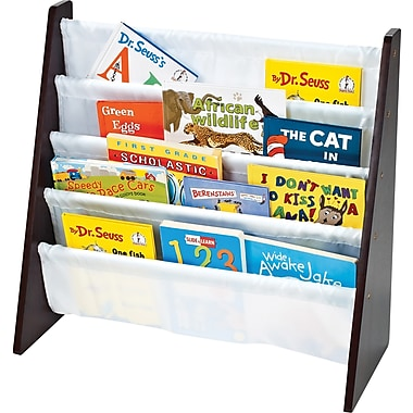 Tot Tutors Book Rack, Espresso with White Pockets