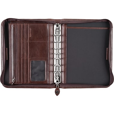 Day-Timer® Sienna Leatherlike Starter Set, Zip Closure, Brown, Desk Size