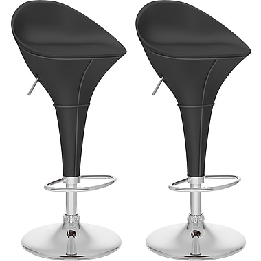CorLiving™ Round Styled Adjustable Bar Stool, Black Leatherette, set of 2