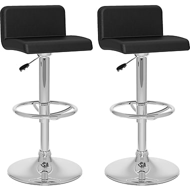 CorLiving™ Low Back Adjustable Bar Stool, Black Leatherette, set of 2