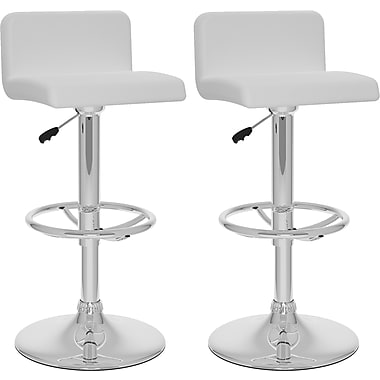 CorLiving™ Low Back Adjustable Bar Stool, White Leatherette, set of 2