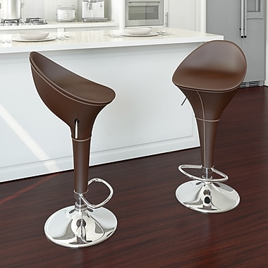 CorLiving™ Round Styled Adjustable Bar Stool, Brown Leatherette, set of 2