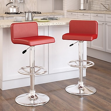 CorLiving™ Low Back Adjustable Bar Stool, Red Leatherette, set of 2