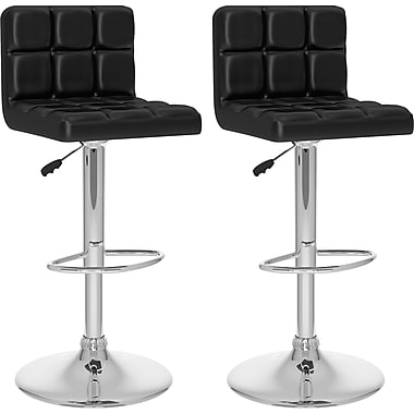 CorLiving™ High Back Adjustable Bar Stool, Black Tufted Leatherette, set of 2