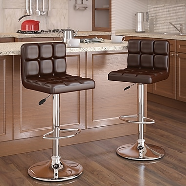 CorLiving™ High Back Adjustable Bar Stool, Brown Leatherette, set of 2
