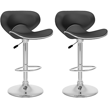 CorLiving™ Curved Form Fitting Adjustable Bar Stool, Black Leatherette, set of 2