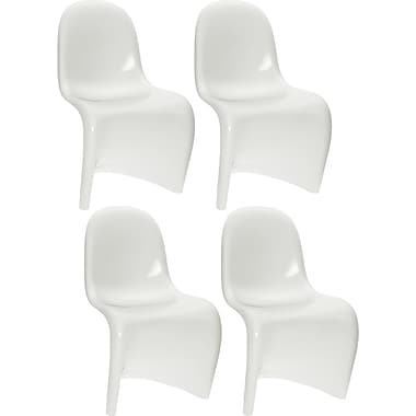 CorLiving Continuous Form Dining Chair, White Gloss, set of 4