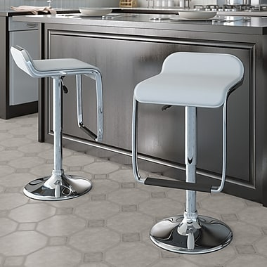 CorLiving™ Adjustable Bar Stool with Footrest, White Leatherette, set of 2