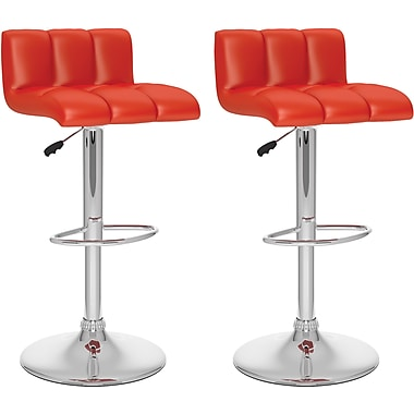 CorLiving™ Low Back Adjustable Bar Stool, Red Tufted Leatherette, set of 2