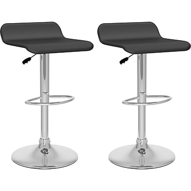 CorLiving™ Curved Adjustable Bar Stool, Black Leatherette, set of 2