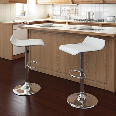 CorLiving™ Curved Adjustable Bar Stool, White Leatherette, set of 2