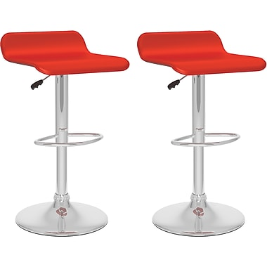 CorLiving™ Curved Adjustable Bar Stool, Red Leatherette, set of 2