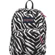 Jansport Superbreak Backpack, Black/White/Pink Zebra