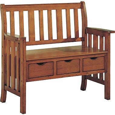 Monarch Three Drawer Storage Bench, Solid Wood, Oak Mission
