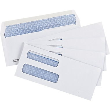 Staples® Envelopes White Double Window Security #8, 3-5/8