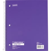 Staples® 1 Subject Notebook, College Ruled, Purple, 8 1/2 x 11