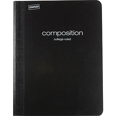 Staples® Poly Composition Notebook, College Ruled, Black , 9-3/4