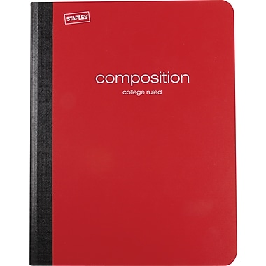 Staples® Poly Composition Notebook, College Ruled, Red , 9-3/4in. x 7-1/2in.