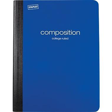 Staples® Poly Composition Notebook, College Ruled, Blue , 9-3/4in. x 7-1/2in.