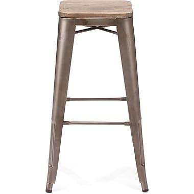 Zuo® Elm Wood Marius Bar Chair, Rustic Wood
