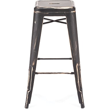 Zuo® Elm Wood Marius Bar Chair, Antique Black Gold
