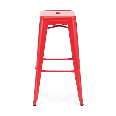 Zuo® Elm Wood Marius Bar Chair, Red