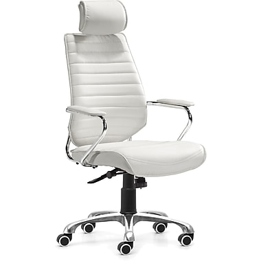 Zuo® Enterprise Leatherette High Back Office Chair, White