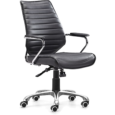 Zuo® Enterprise Leatherette Low Back Office Chair, Black