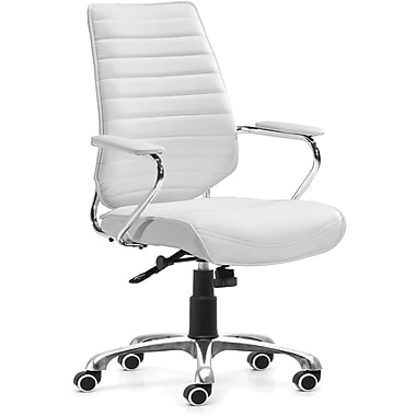 Zuo® Enterprise Leatherette Low Back Office Chair, White
