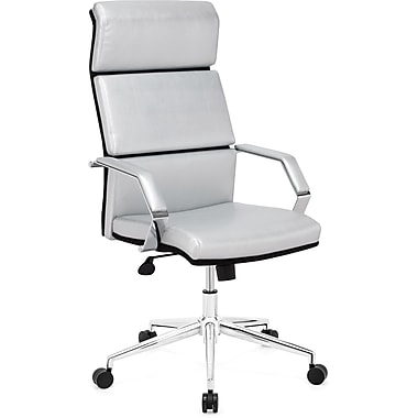 Zuo® Lider Pro Leatherette High Back Office Chair, Silver