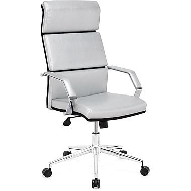 ZuoMD – Chaise de bureau Lider Pro en similicuir à dossier élevé, argenté