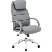 Zuo High-Back Leatherette Executive Chair, Fixed Arm, Gray