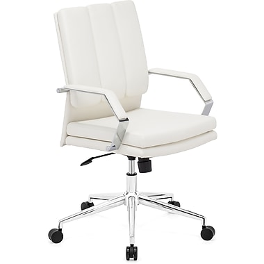 Zuo® Director Pro Leatherette Mid Back Office Chair, White