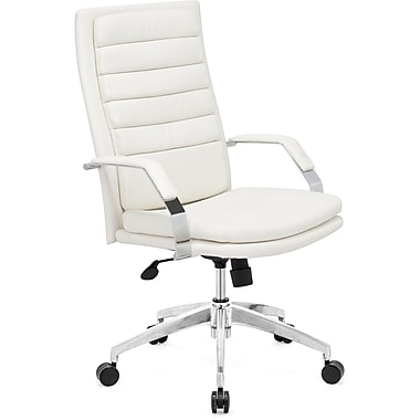 Zuo® Director Comfort Leatherette High Back Office Chair, White