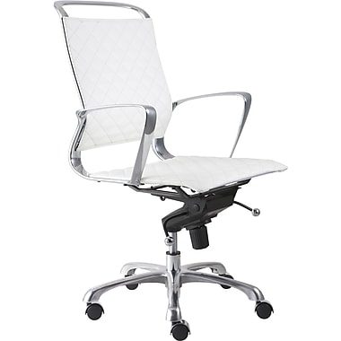 Zuo® Jackson Leatherette Mid Back Office Chair, White