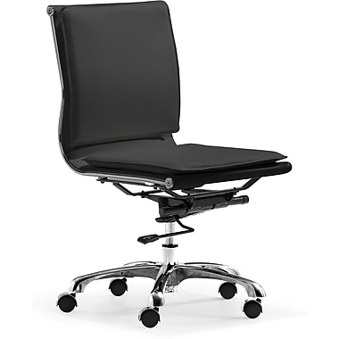 Zuo® Lider Plus Leatherette Mid Back Office Chair, Black