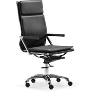 Zuo® Lider Plus Leatherette High Back Office Chair, Black