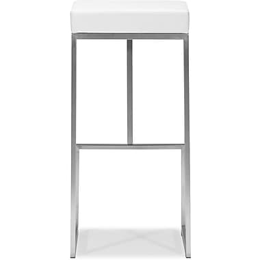 Zuo Plush Leatherette Darwen Bar Chair, White