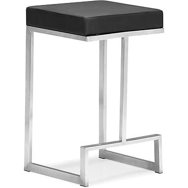 Zuo Plush Leatherette Darwen Counter Chair, Black