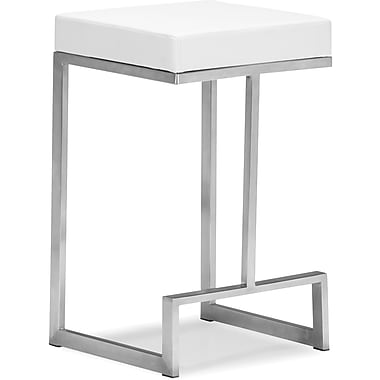 Zuo Plush Leatherette Darwen Counter Chair, White