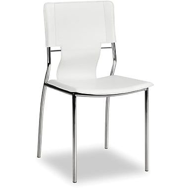 Zuo Trafico Leatherette Dining Chair, White, 4/Pack