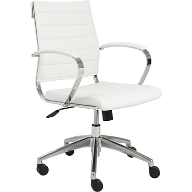 Euro Style 00477WHT Axel Leatherette Low-Back Executive Chair with Fixed Arms, White