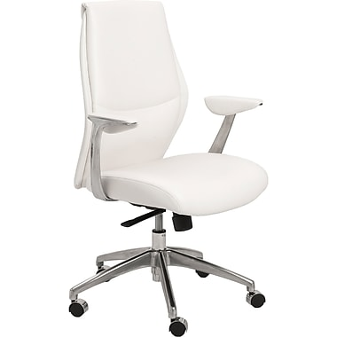 Euro Style 00473WHT Crosby Leatherette Low-Back Task Chair with Fixed Arms, White