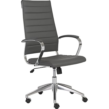 Euro Style 00476GRY Axel Leatherette High-Back Task Chair with Fixed Arms, Gray