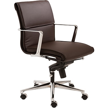 Euro Style™ Leif Leatherette Low Back Office Chair, Brown