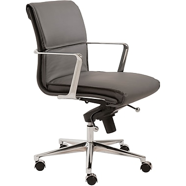 Euro Style™ Leif Leatherette Low Back Office Chair, Gray