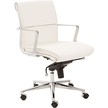 Euro Style™ Leif Leatherette Low Back Office Chair, White