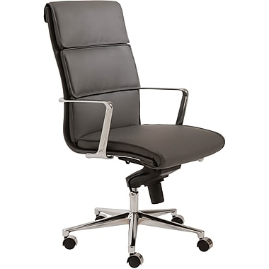 Euro Style 00679GRY Leif Leatherette High-Back Task Chair with Fixed Arms, Gray