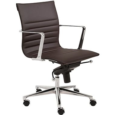Euro Style 00681BRN Kyler Leatherette Low-Back Task Chair with Fixed Arms, Brown