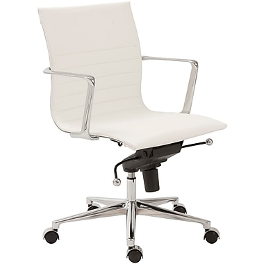 Euro Style™ Kyler Leatherette Low Back Office Chair, White